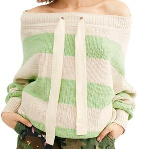 NWT Free People Wild Green Combo Pullover. Size M